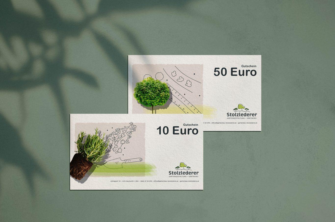 Gutscheine Stolzlederer 10 und 50 Euro