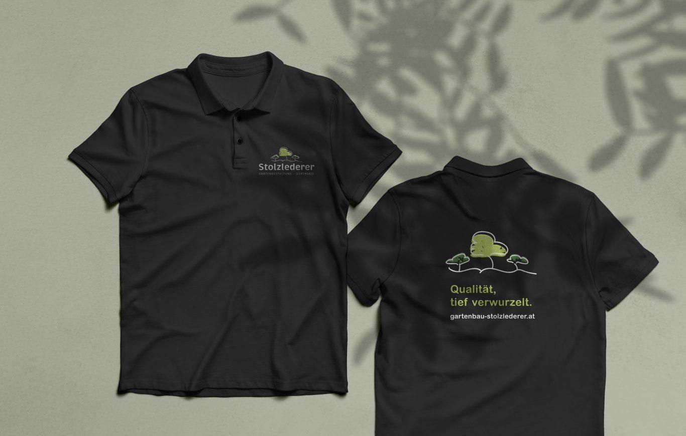 schwarze Polo-Shirts mit Stolzlederer Logo