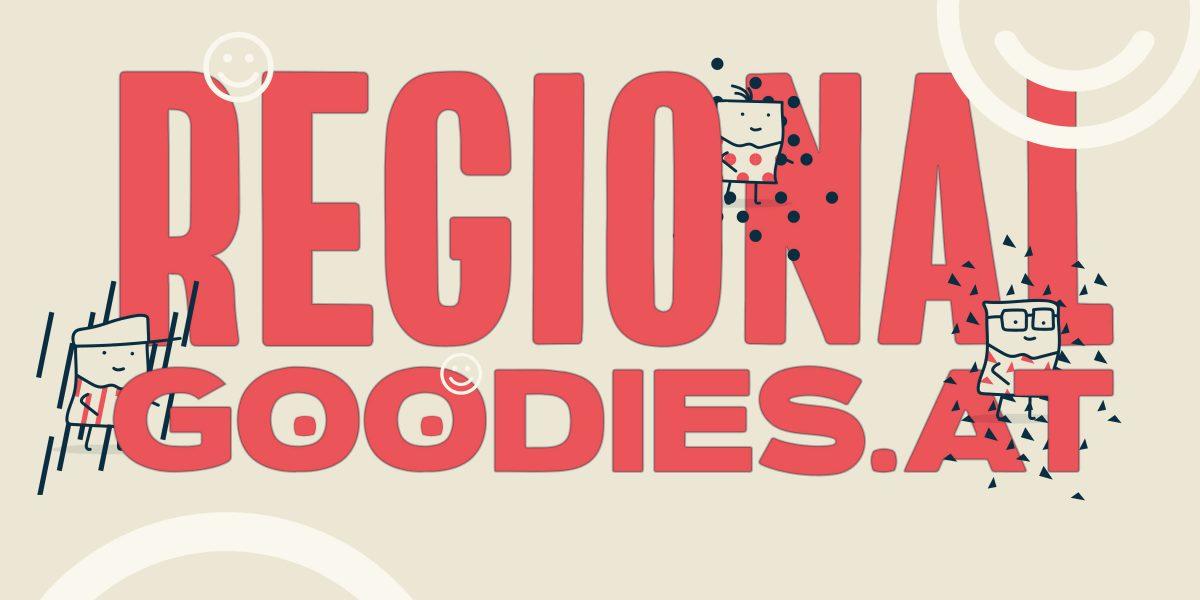 Logo RegionalGoodies in Rot auf Beige mit drei Männchen und Emojis