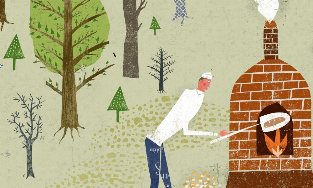 illustration bäcker im wald